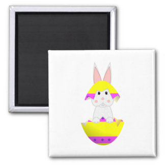 White Bunny In A Yellow Egg Magnet