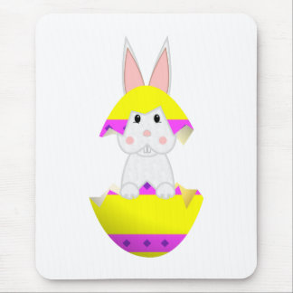 White Bunny In A Yellow Egg Mouse Pad