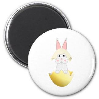 White Bunny In An Egg Fridge Magnets