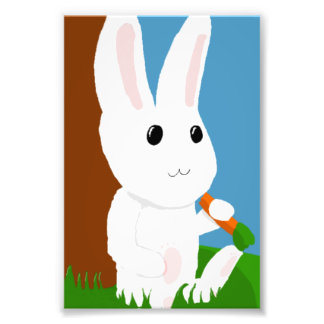 white bunny photo print