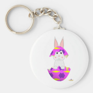 White Bunny Pink Decorated Easter Egg Key Chain
