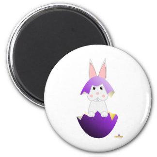 White Bunny Purple Easter Egg Magnet