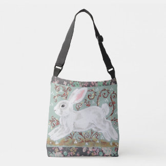 White Bunny Rabbit Floral Aqua Cross Body Tote Bag