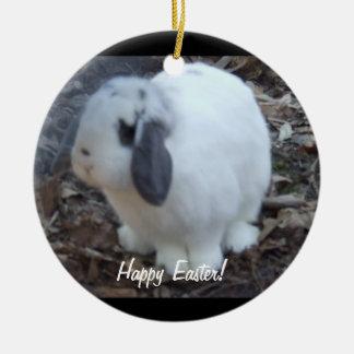 White Bunny Rabbit Happy Easter Ceramic Ornament