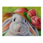 White Bunny Rabbit in Spring Bonnet Watercolor Art Postcard