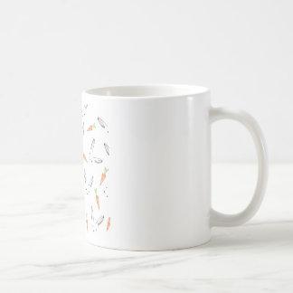 White Bunny Rabbit Orange Carrots Ditsy Coffee Mug