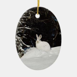 White Bunny Rabbit Wildlife Holiday Decorations Christmas Tree Ornaments