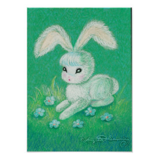 White Bunny Rabbit With Floppy Ears Posters