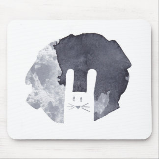 White Bunny Silhouette Mouse Pad