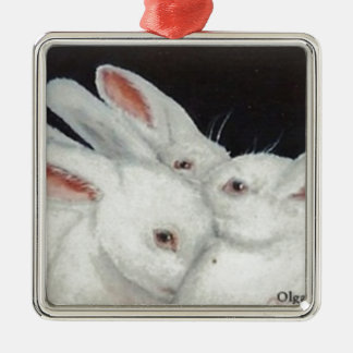 White Bunny Trio collection Ornament