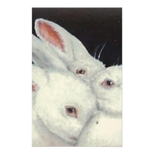 White Bunny Trio collection Stationery Design