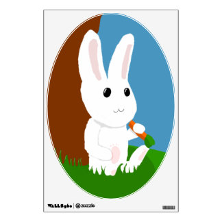 white bunny wall decal