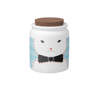 White Bunny with Bow Candy Dish