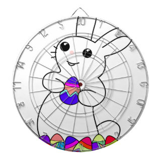 White Bunny with Colored Easter Eggs Dart Boards