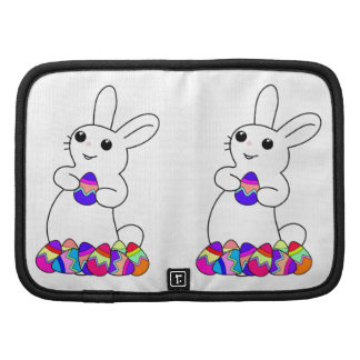 White Bunny with Colored Easter Eggs Folio Planner