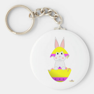 White Bunny Yellow Decorated Easter Egg Key Chains