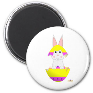 White Bunny Yellow Decorated Easter Egg Magnets