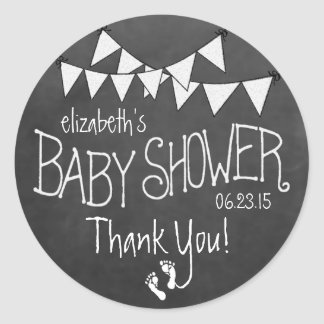 White Bunting and White Chalkboard Baby Shower Classic Round Sticker