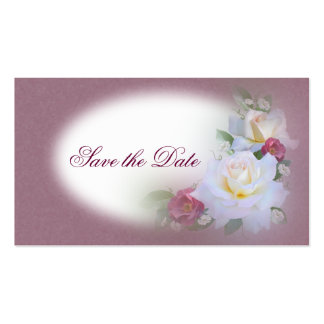 White & Burgandy Roses - Save the Date Business Card