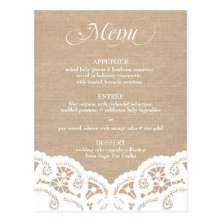 White Burlap Lace Doily Wedding Menu Postcard