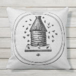 "White Burlap Outdoor Pillow<br><div class=""desc"">A white burlap look outdoor pillow with a vintage beehive image.</div>"