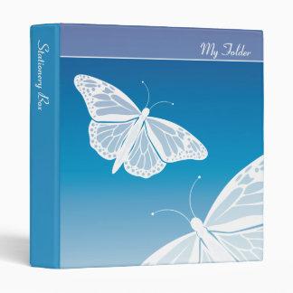 White Butterflies Folder 3 Ring Binder