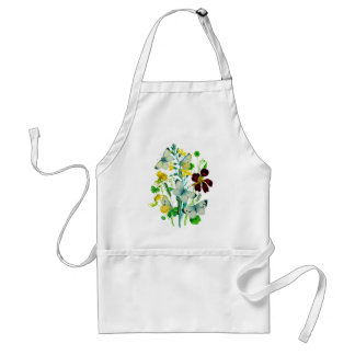 White Butterflies, Nasturtiums and WIldflowers Adult Apron