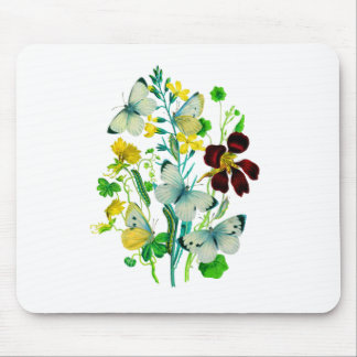 White Butterflies, Nasturtiums and WIldflowers Mouse Pad