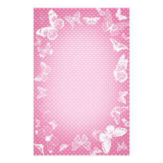 White Butterflies on dotted pink background Stationery