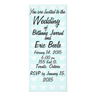 White Butterflies on Light Blue Wedding Invitation