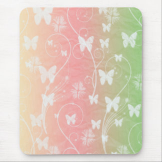 WHITE BUTTERFLIES ON PASTELS MOUSEPADS