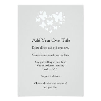 White Butterflies on Soft Grey Invite