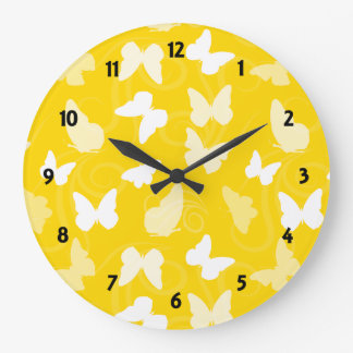 White Butterflies on yellow Large Clock