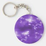 White Butterflies , Purple Background Keychains
