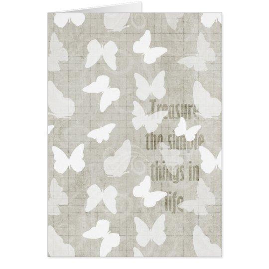 White Butterflies Treasure Card