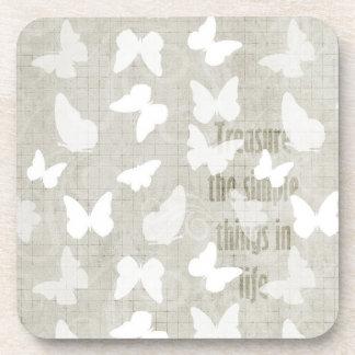 White Butterflies Treasure Coaster