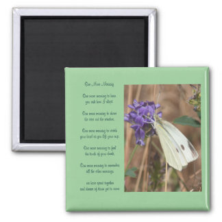 White Butterfly and Love Poem Valentine Magnet