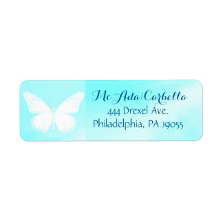 White Butterfly Blue Sky Return Address Labels