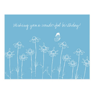White Butterfly Chamomile Blue Happy Birthday Postcard