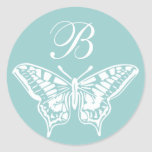 White Butterfly Customizable Monogram sticker