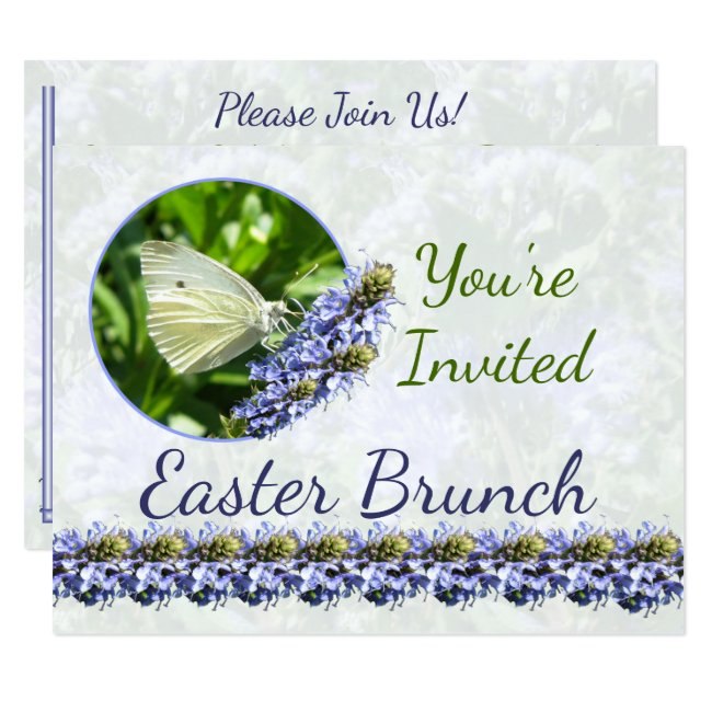 White Butterfly Easter Custom Party Invitation