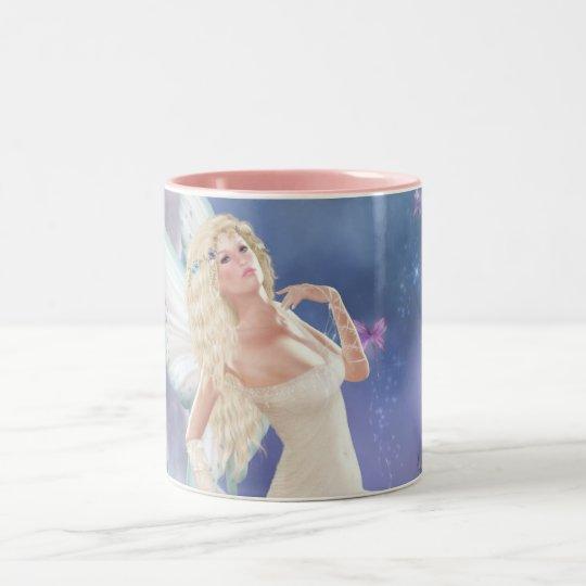White Butterfly Fairy Moon Coffee Mug