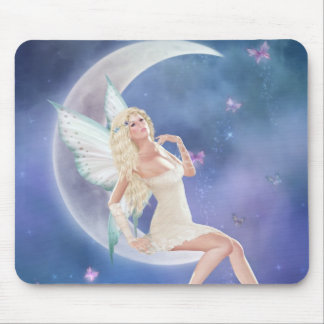 White Butterfly Fairy Moon Mousepad