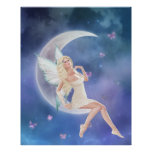 White Butterfly Fairy Moon Poster Print