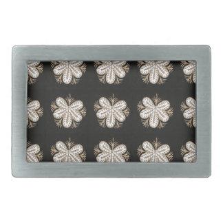 White Butterfly look flowers elegant sparkle gifts Rectangular Belt Buckle