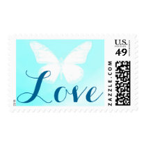 White Butterfly Love Postage Stamp Blue 2