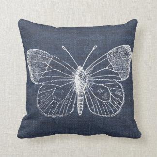 White Butterfly on Indigo Pillow 2