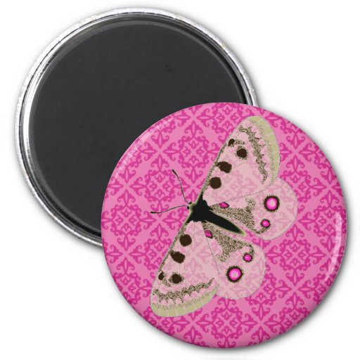 White Butterfly on Pink 2 Inch Round Magnet