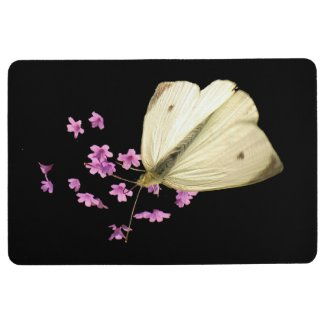 White Butterfly on Pink Flowers Floral Floor Mat