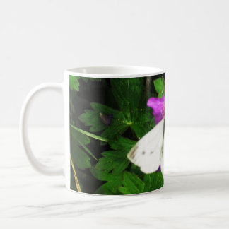 White Butterfly on Purple Flowers Coffee Mug
